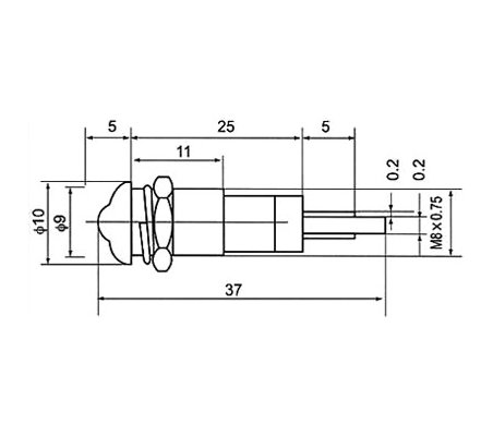 Led Indicator 24Vdc for panel in metal - Amarelo | Indicadores Led |