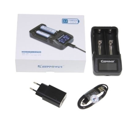 EU Battery Charger w/ LCD Display and USB connection for Li-Ion Rechargeable Batteries
