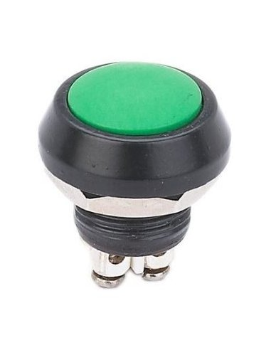 Push Button Domed Head Momentary 12mm w/ Screw Terminals - Green
