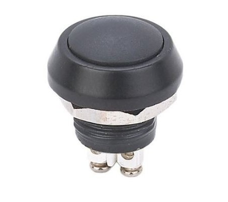 Push Button Domed Head Momentary 12mm w/ Screw Terminals - Black | Push Button |