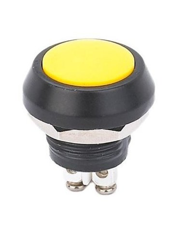 Push Button Domed Head Momentary 12mm w/ Screw Terminals - Yellow