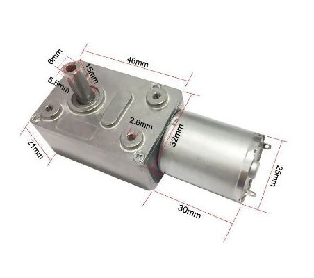 JGY370 Motor Reversível com Caixa Redutora Worm 24Vdc 40rpm