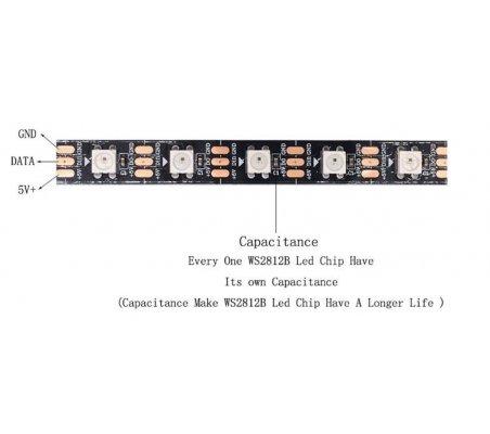 WS2812B 60 RGB Led Strip 5050 5V Branco - 1mt