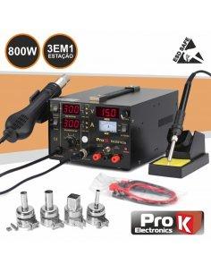ProK PKDS103A Estação de Soldar e Dessoldar SMD Ar Quente 0-15V 1A 800W