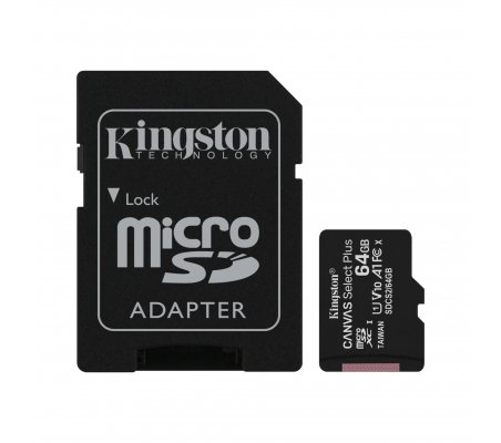 Cartão Kingston Canvas 64GB Select Plus MicroSDHC UHS-I A1 (Class 10) - Raspberry Pi OS Kingston