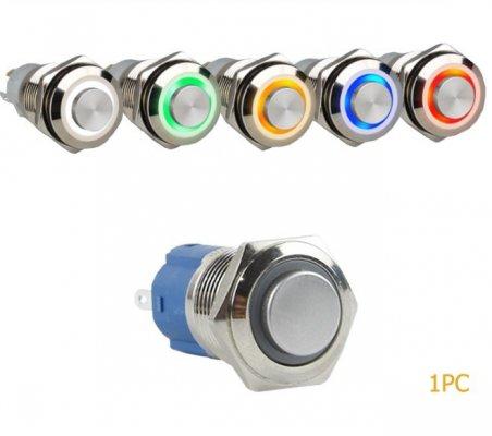 Interruptor Redondo de Metal Ø16mm ON-OFF 3-6V - Anel Amarelo