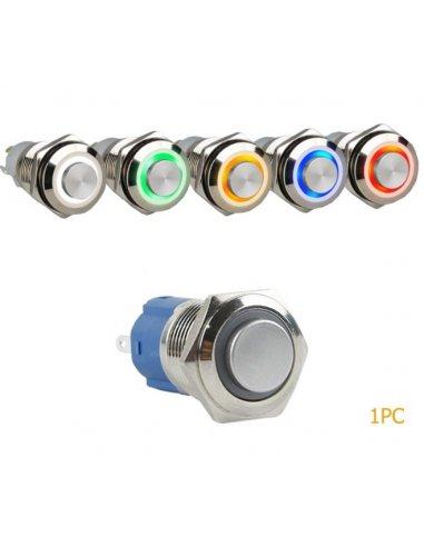 Interruptor Redondo de Metal Ø16mm Momentâneo 3-6V - Anel Azul