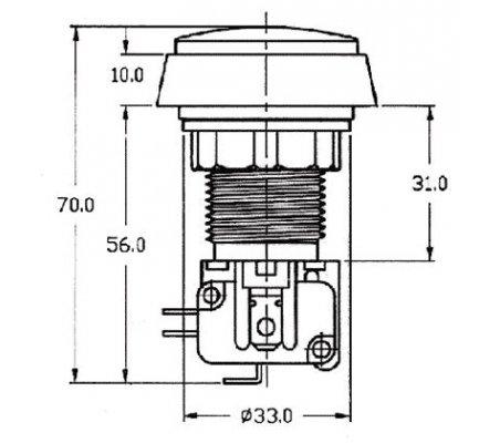 Interruptor de Pressão ON-(ON) SPDT 10A/250Vac - Amarelo | Push Button |