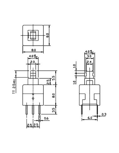 Interruptor DPDT para PCB - 6 pinos | Push Button |