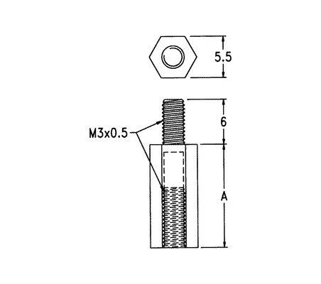 Espaçador Hexagonal Nylon M3 5mm M/F
