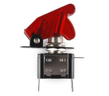 Interruptor de Alavanca Iluminado (Vermelho) com Tampa | Toggle Switch |