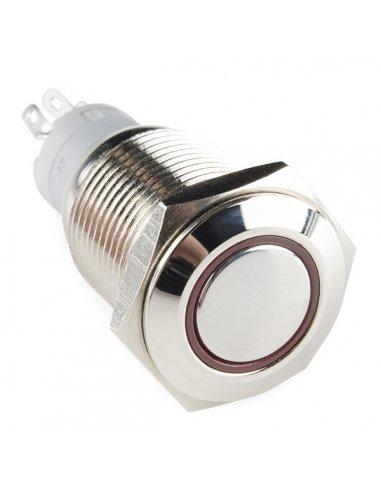 Interruptor Redondo de Metal 16mm Momentâneo - Anel Vermelho | Push Button |