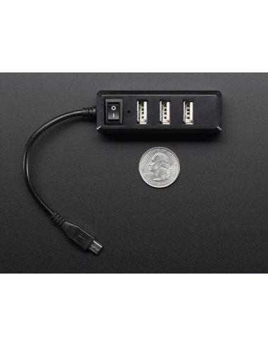 Mini Hub USB com Interruptor - OTG Micro-USB
