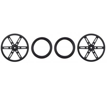 Par de Rodas para Servo com Banda de Borracha (25T, 5.8mm) - 90×10mm | Rodas para Robôs |