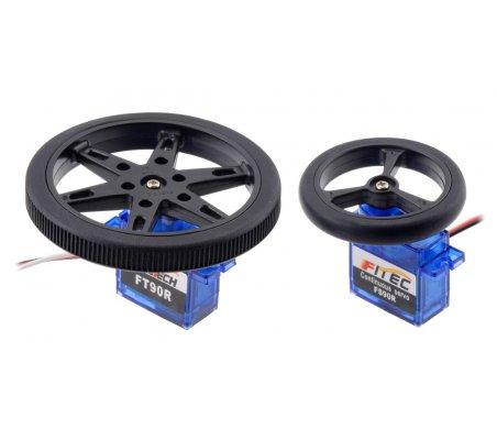 Par de Rodas para Micro Servo com Banda de Borracha (20T, 4.8mm) - 40×7mm | Rodas para Robôs |