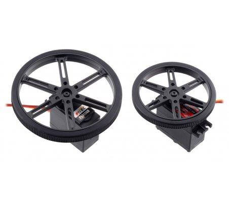 Par de Rodas com Banda de Borracha para Micro Servo  (20T, 4.8mm) - 60×8mm | Rodas para Robôs |