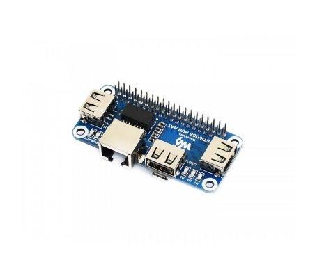HAT para Raspberry PI Ethernet USB HUB 1x RJ45 3x USB