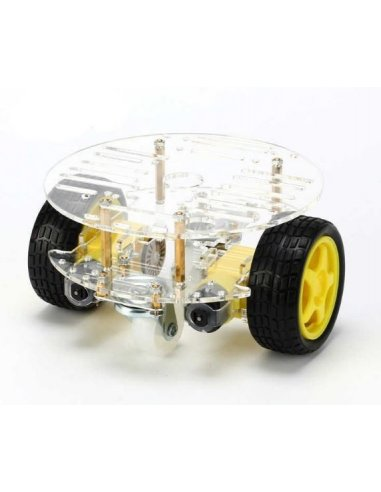 2WD Round Double Layer Chassis Smart Car Kit | Chassi de Robo |