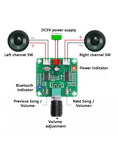 Módulo Amplificador Bluetooth 5.0 HD 2 Canais 5W 5V - PAM8403   Bluetooth  