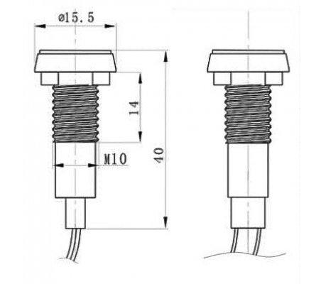 Luz Indicadora Plana 24V Ø10mm para painel - Vermelha | Medidores de Painel |