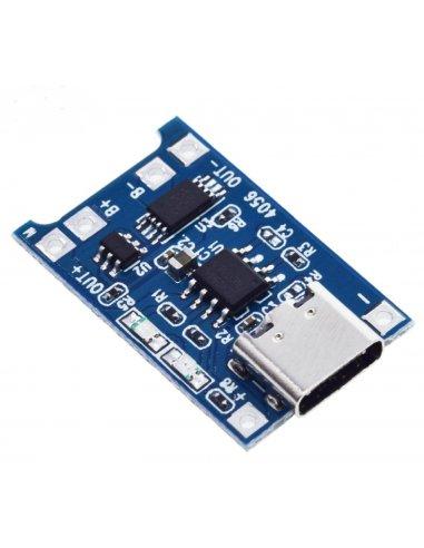 Módulo de Carregamento de Baterias com Proteção de Carga TP4056 USB C
