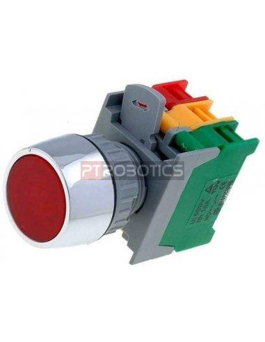 Botão Vermelho de Pressão 22mm 3A 230Vac   Push Button  