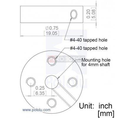 Universal Aluminum Mounting Hub for 4mm Shaft Pair, 4-40 Holes | Hub's |