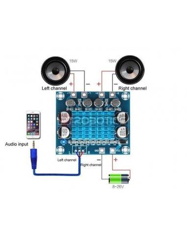 Módulo Amplificador de Potência de Áudio Stereo Digital de 2 Canais 30W+30W 8-26Vdc 3A