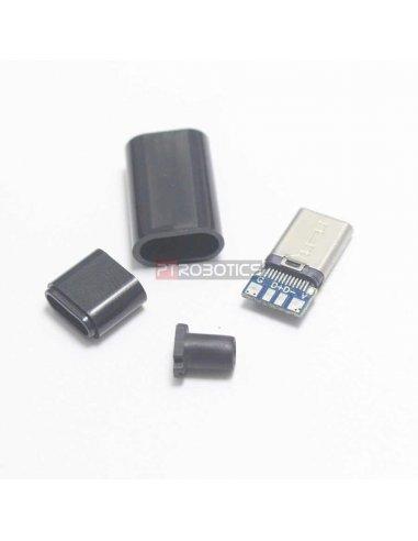 Ficha USB C Macho DIY - Preta | Ficha USB |