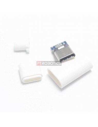 Ficha USB C Macho DIY - Branca   Ficha USB  