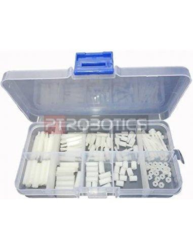 Kit de Espaçadores, Parafusos e Porcas M2.5 Nylon - 120 Peças