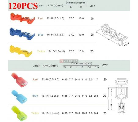 Kit de Terminais Quick Splice - 120 Peças | Varios |