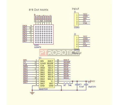 Módulo Matriz MAX7219 4 em 1 para Arduino - Azul