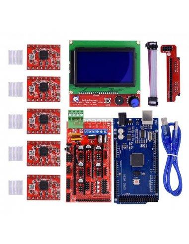Kit para Impressão 3D com Ramps 1.4, Arduino Mega 2560, Drivers A4988 (x5) e LCD 128x64 com Controlador