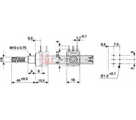 Potenciómetro Linear 25K - 200mW 6mm