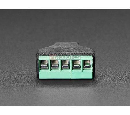 Adaptador Mini USB B Fêmea para Bloco Terminal 5 Pinos