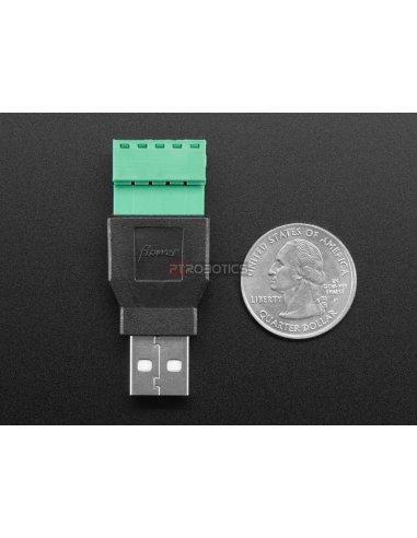 Adaptador USB A Macho para Bloco Terminal 5 Pinos