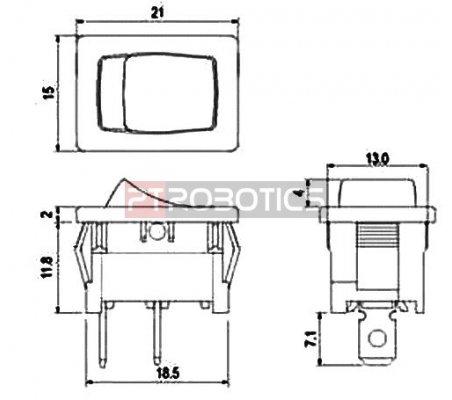 Interruptor Basculante SPST OFF-ON 10A 250Vac