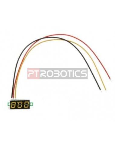 "Voltímetro LED Digital 0-100V 0.28"" - Amarelo"