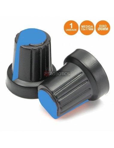 Botão p/ Potenciómetro Preto c/ Linha Azul 15x17mm