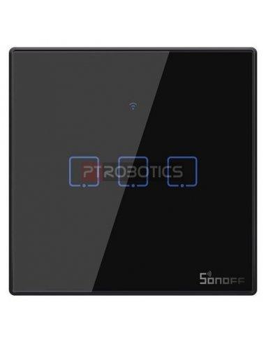 Sonoff T3 EU: Série TX Interruptor de Encastrar com Controlo WiFi e RF Preto - 3 Gang