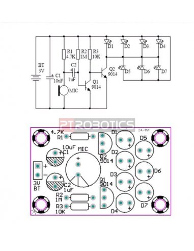 Kit de Eletrónica LED DIY - Controlador de Som e Melodia