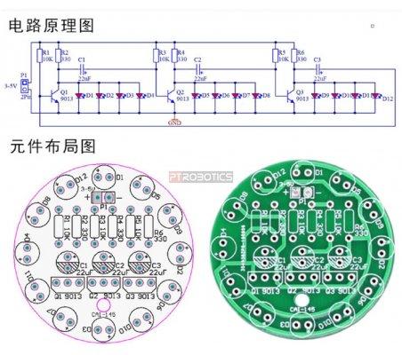Kit de Eletrónica LED DIY - Fluxo Luminoso - Vermelho
