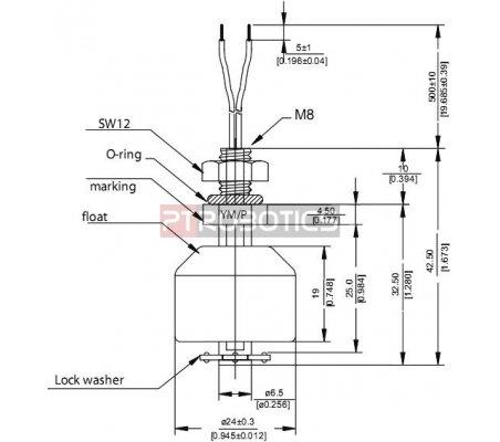 Sensor de Nível de Líquido SPST 500mA - Normalmente Fechado