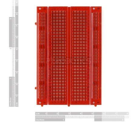 Breadboard 400 Pontos Transparente Red