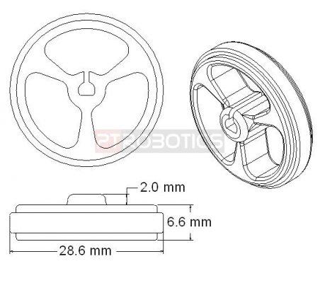 Wheel 32x7mm Pair - Black   Rodas para Robôs  