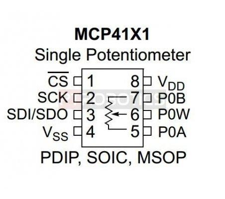 MCP4141-103 - 10K SPI Digital Potentiometer