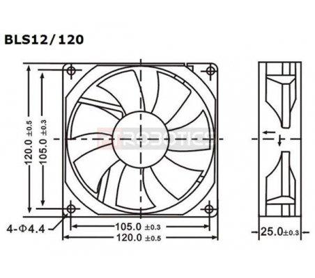 Ventoinha DC 120X120X25mm 12V 0.28A   Ventoinhas  