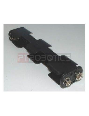 Suporte 4xAA Conector PP3 Posição em linha   Suporte Pilhas  
