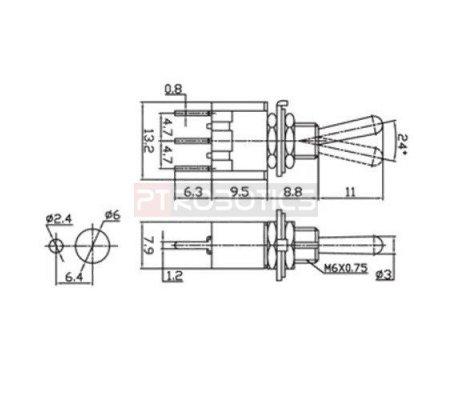 Interruptor Toggle PCB SPDT - 250V 3A | Toggle Switch |